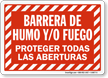 Spanish Fire & Smoke Barrier Sign