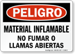 Spanish OSHA Danger Flammable Material No Smoking Sign