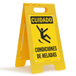 FloorBoss XL™ Spanish Caution Icy Conditions Stand-Up Sign
