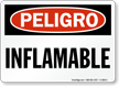 Spanish OSHA Danger Flammable Sign