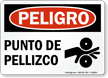 Spanish OSHA Danger Pinch Point Sign