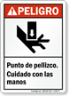 Spanish ANSI Danger Pinch Points, Watch Your Hands Sign