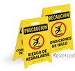 Reversible Fold-Ups® Spanish Slippery Hazard Icy Conditions Floor Sign