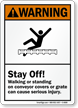 ANSI Conveyor Gratings Warning Sign
