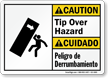 Tip Over Hazard Bilingual Caution Sign