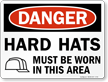 OSHA Danger Wear Hard Hat Sign