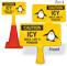 Caution Icy Walk Like A Penguin ConeBoss Sign