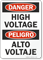 Danger High Voltage Sign Bilingual
